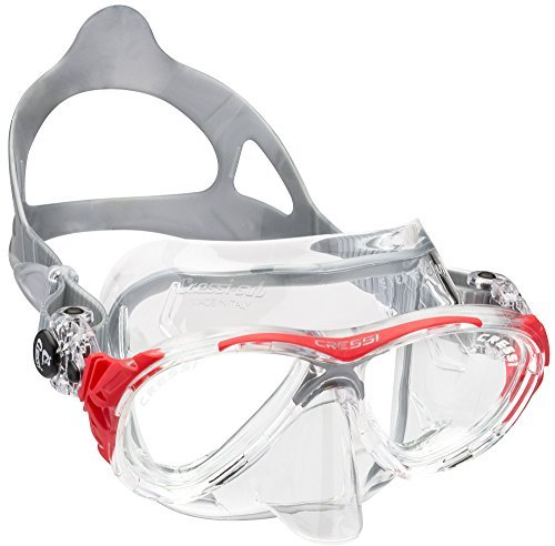 Cressi Eyes Evolution Scuba Diving Snorkeling Mask (Made in Italy), Clear/Red by Cressi