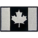 Tactical Canada Flag Embroidered Patch Canadian Maple Leaf Embroidered Fastener Hook & Loop Emblem, White & Black