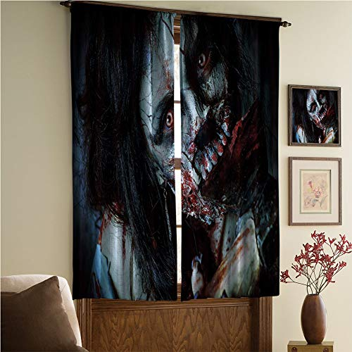 iPrint Blackout Curtain-Window Handling/Privacy,Zombie Decor,Scary Dead Woman with Bloody Axe Evil Fantasy Gothic Mystery Halloween Picture,Multicolor,108.3
