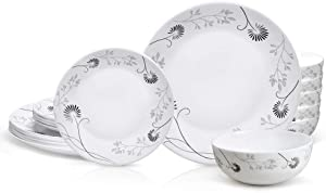 DANMERS Dinnerware Set 18-Piece Service for 6,Chip Resistant Dishes Bowls for Camping,Dinner,Dandelion Design