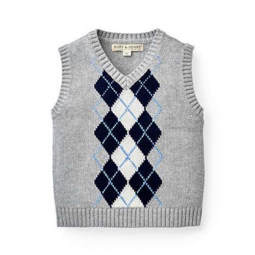 Hope & Henry Boys' Grey Argyle Cable Sweater Vest -