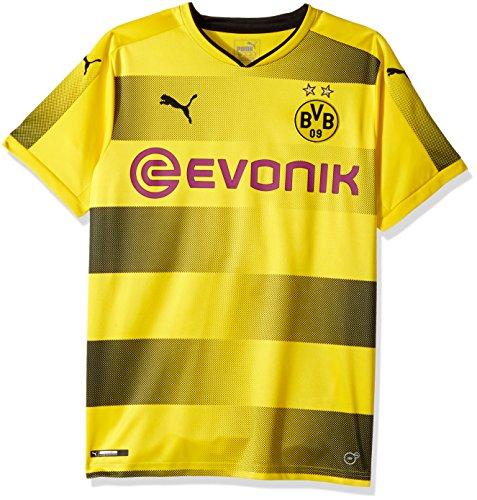 PUMA Men's BVB Home Replica Shirt with Sponsor Logo, Cyber Yellow Black, Medium - Dortmund Shirt Borussia
