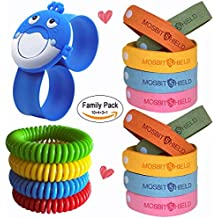 Mosquito Repellent Bracelet 18pcs, Indoor Outdoor Non Toxic/No Deet Insect Repellent Bracelets, Safe Bug Repellent Bracelet & Stickers Patches Pack with Kids Cartoon Whale Design for Camping/Traveling