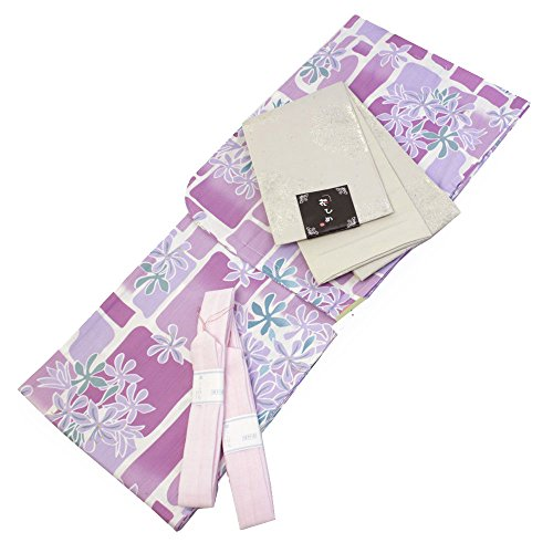 Womens Cotton Yukata 3items set Japanese Summer Kimono Floral Blocks M size by Kimono Japan