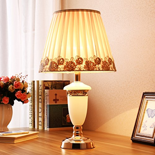 HM&DX Bedside table lamp,Imitation marble and floral fabric shade nightstand lamp european style decorative desk lamps for living room,Bedroom-B - Imitation Marble
