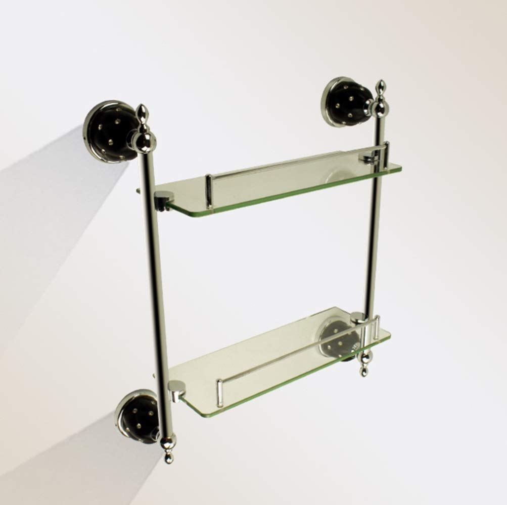 CEFULTY Double-Deck Stainless Steel Glass Bathroom Bathroom Hanger Hanger (Color : Silver)