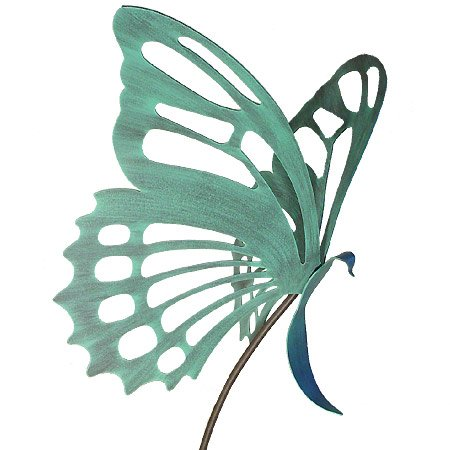 Large Butterfly Garden Sculpture/Stake - Verdi Green