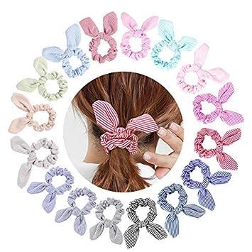 TOBATOBA 16 Pack Hair Scrunchies Bunny Ears Elastic Hair Ties Cotton Hair Hair