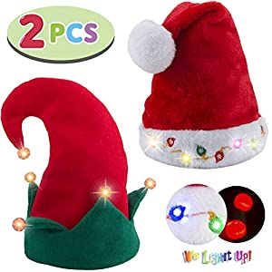 Blinking Light-up Plush Red Santa Hat + Blinking Light-up Elf Hat for Christmas Holiday Party, Ugly Sweater Party