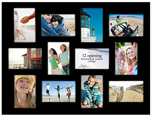 Malden International Designs Modern Wall Frames Biltmore Collage Picture Frame, 12 Option, 12-4x6, Black