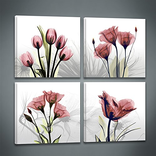 Niterny Art Flower Painting Canvas Wall Art 4 Panles Elegant Red Tulip Abstract Picture Artwork for Modern Home ()