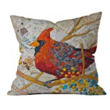 DENY Designs Elizabeth St Hilaire Nelson Cardinal on White Outdoor Throw Pillow, 20-Inch by 20-Inch