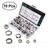OUNONA 70PCS 304 Stainless Steel Single Ear Pipe Clamps Tube Hose Tighten Parts Assortment Kit with Storage Box (Diameter 7mm-21mm)
