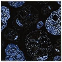 3dRose cst_110444_3 Sugar Skulls Day of The Dead Art Ceramic Tile Coasters, Blue, Set of 4