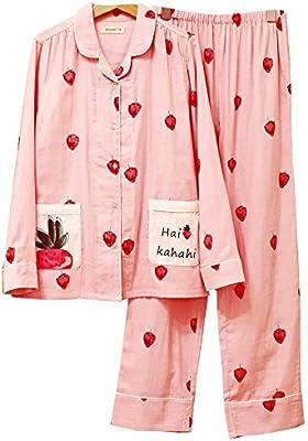Las Mujeres Pijamas De Gasa De Algodón Dulce Establecen Señoras Ropa De Noche Suave De 2 Piezas, S-XL,Picturecolor,L ...