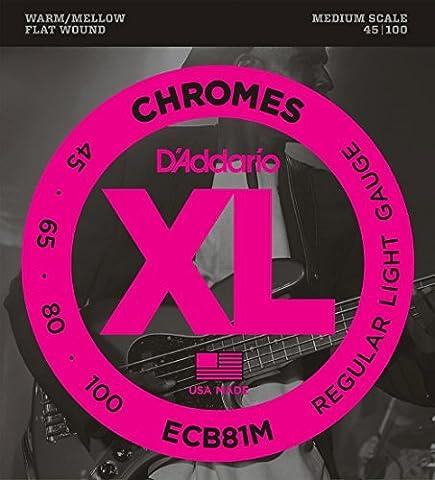 D'Addario ECB81M Chromes Bass Guitar Strings, Light, 45-100, Medium Scale (Flat Bass Guitar Strings)