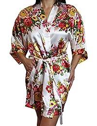 cb0b57d0f0 Women s Floral Satin Kimono Short Bridesmaid Robe Pockets - Silky Touch