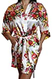 Women's Satin Floral Kimono Short Bridesmaid Robe W/ Pockets - White M/L