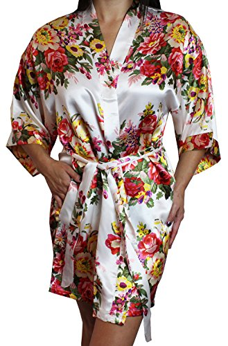 Women's Satin Floral Kimono Short Bridesmaid Robe W/Pockets - White XS/S