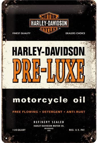 Metal Nostalgic-Art Harley Davidson The Original Ride Placa Decorativa 20x30x0.2 cm Naranja y Negro