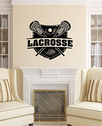 Wall Decals Lacrosse Sport Stamp Logo Emblem Office Window Wall Vinyl Decal Stickers Bedroom Murals