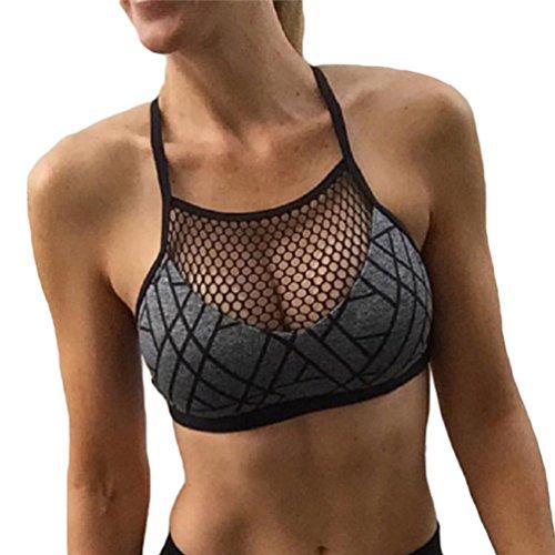YAANCUN Mujer Nuevo Hueco Impresión Sujetador Deportivo Transpirable Ajustables Para Yoga Gimnasio Correr Gris