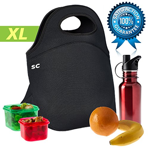 Insulated Neoprene Lunch Bag for Men, Women and Kids | Extra Large to Hold More, Highest Quality Construction, Most Insulating {5mm} Reusable Lunch Box Tote | Unisex Design [Black] by Sweet Concepts
