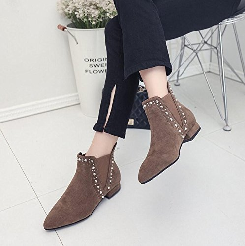 Ankle 36 Flat And And Matte During Boots Single KHSKX With Women Boots Flat Boots Seasons Edition Gray The Autumn Martin New Korean Short Spring Bottom Rivets Tip The Boots qwafAg