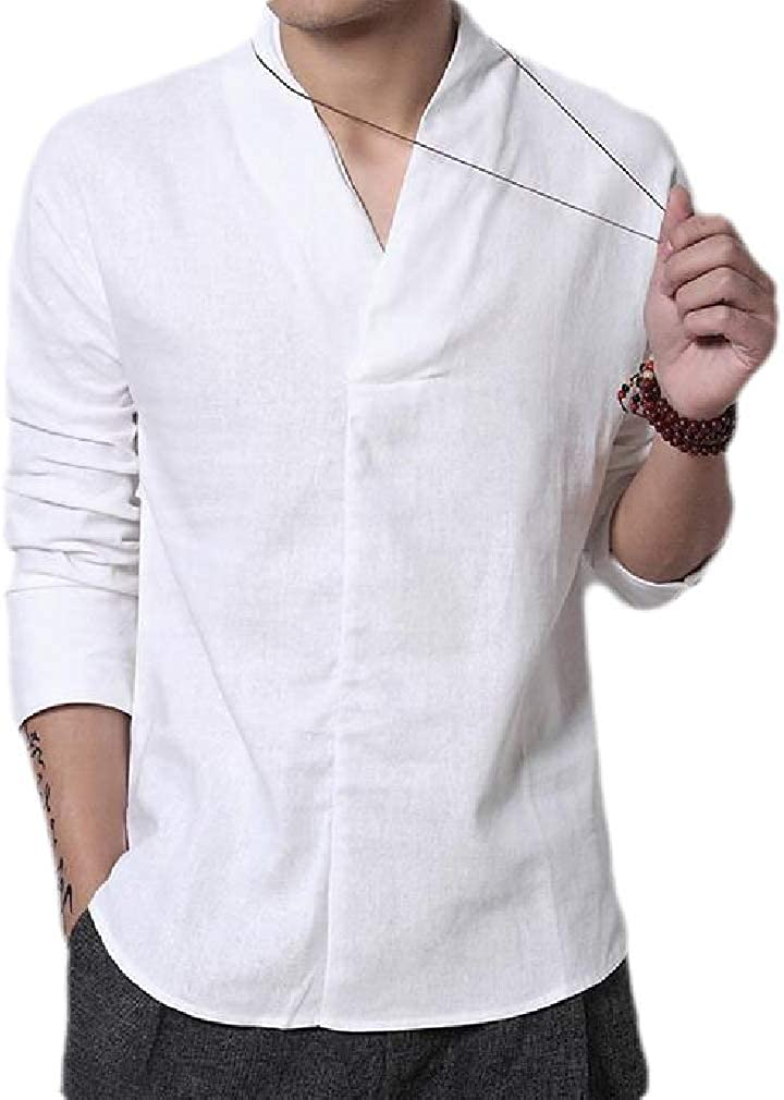 Sweatwater Mens V Neck Top Linen Casual Solid Long-Sleeve Shirts