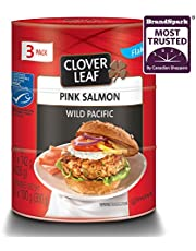 Clover Leaf Flaked Pink Salmon Wild Pacific – 3 Pack (3x142g), 1 Count - Canned Salmon – Skin & Bones Removed – High in Protein - 13g Protein Per 55g Serving Drained – Source of Omega-3, Vitamin D