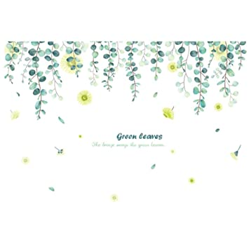 sufengshop Hojas verdes planta nórdica bonsai pegatinas de pared ...
