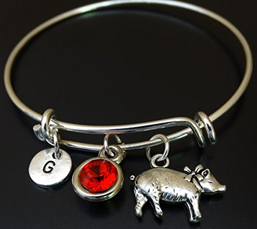 Pig Bracelet, Pig Charm, Pig Pendant, Pig Jewelry, Pig Girl, Pig Women, Pig Gift for Her, Pig Birthday, Pig Lover, Farm Animal Bracelet, Farm Animal Jewelry, Farmers Wife, Farmers Daughter, Animal Bracelet, Pig Bangle