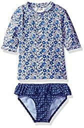 Jessica Simpson Toddler Girls\' Ditsy Floral Short Sleeve Rash Guard, Blue, 4T