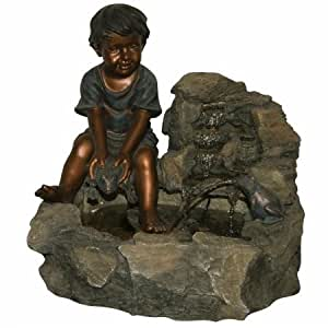 Alpine Fountain with Boy Holding Spitting Frog and Halogen Light