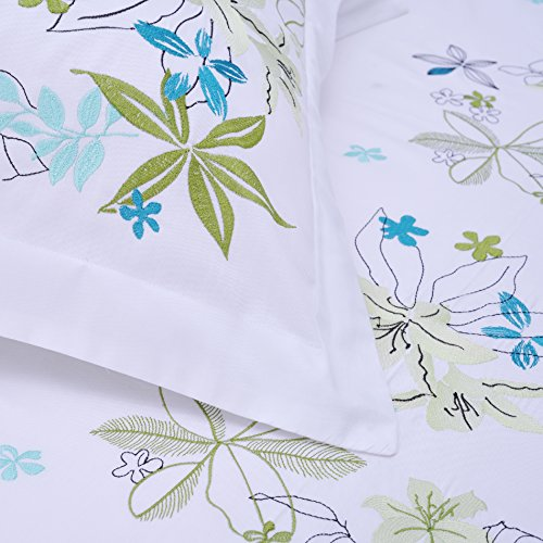 Superior Spring Blooms 100% Premium Cotton Twill Fabric Full/Queen Embroidered Duvet Set by Superior (Image #3)