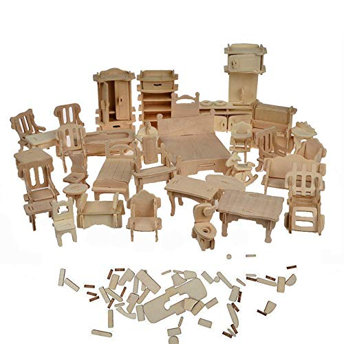 BOHS 1SET=34PCS Dollhouse Furnitures Set -Wooden 3D for sale  Delivered anywhere in USA