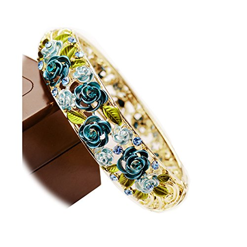 Starshiny Cloisonne Rose Retro Enamel Hollow Handcrafted Gold plating Bangle Bracelet with Crystals for Gift