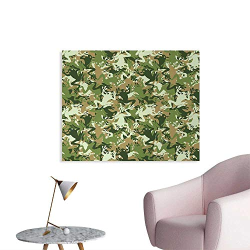 (Tudouhoho Animal Space Poster Skull Camouflage Military Design with Various Frog Pattern Different Tones Art Wall Sticker Decals Sage Pine Green W36 xL24)