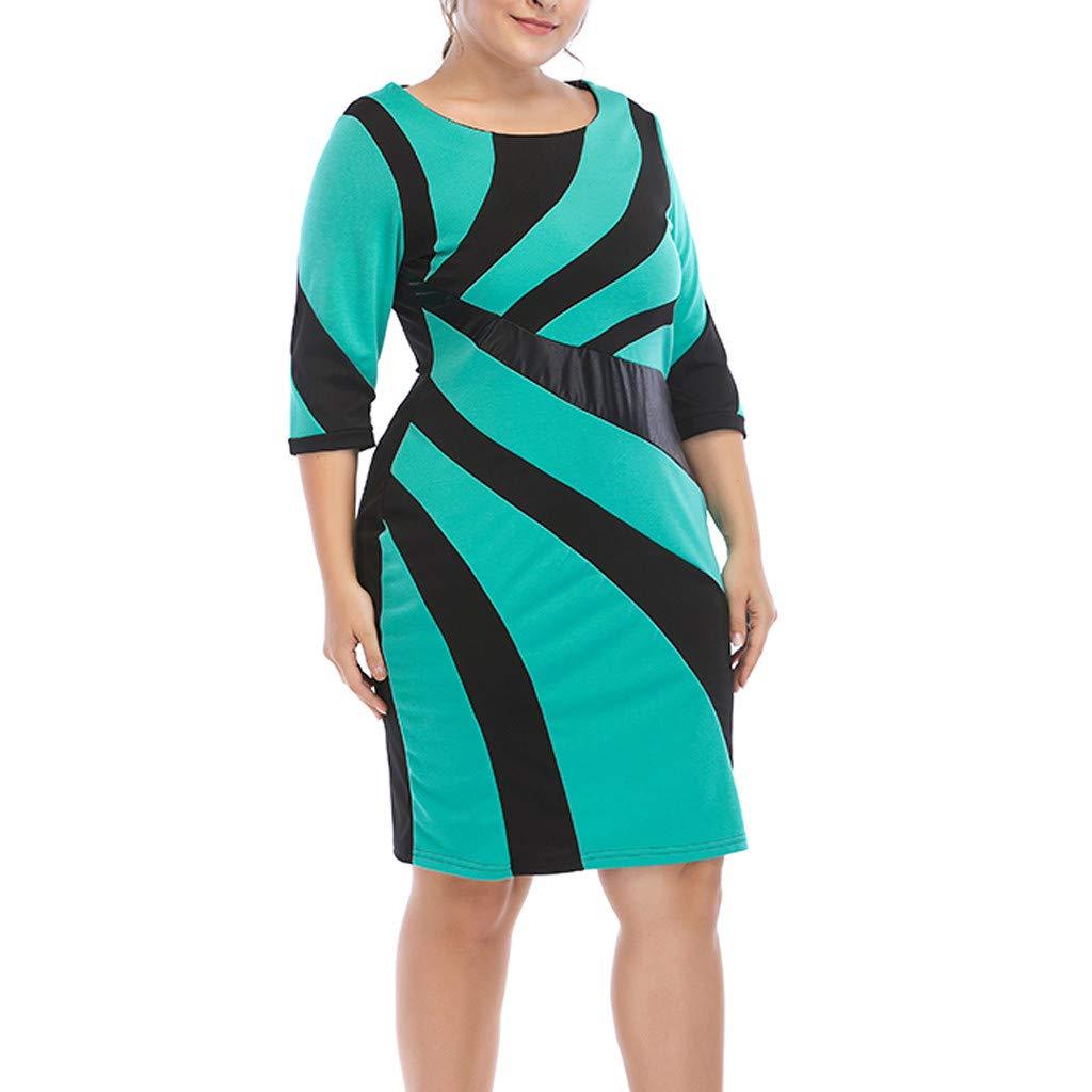 Jianekolaa_Dress Women's Plus Size Mini Dresses Half Sleeve Knee Length Party Club Dress Bodycon Green