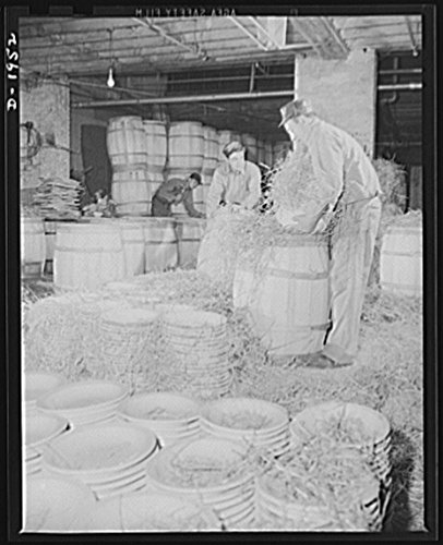 - 1941 Photo Ware shipped to the Army Quartermaster has straw placed between each piece and is then packed in large wooden barrels. Shenango Pottery Works, Newcastle, Pennsylvania Location: Lawrence Co