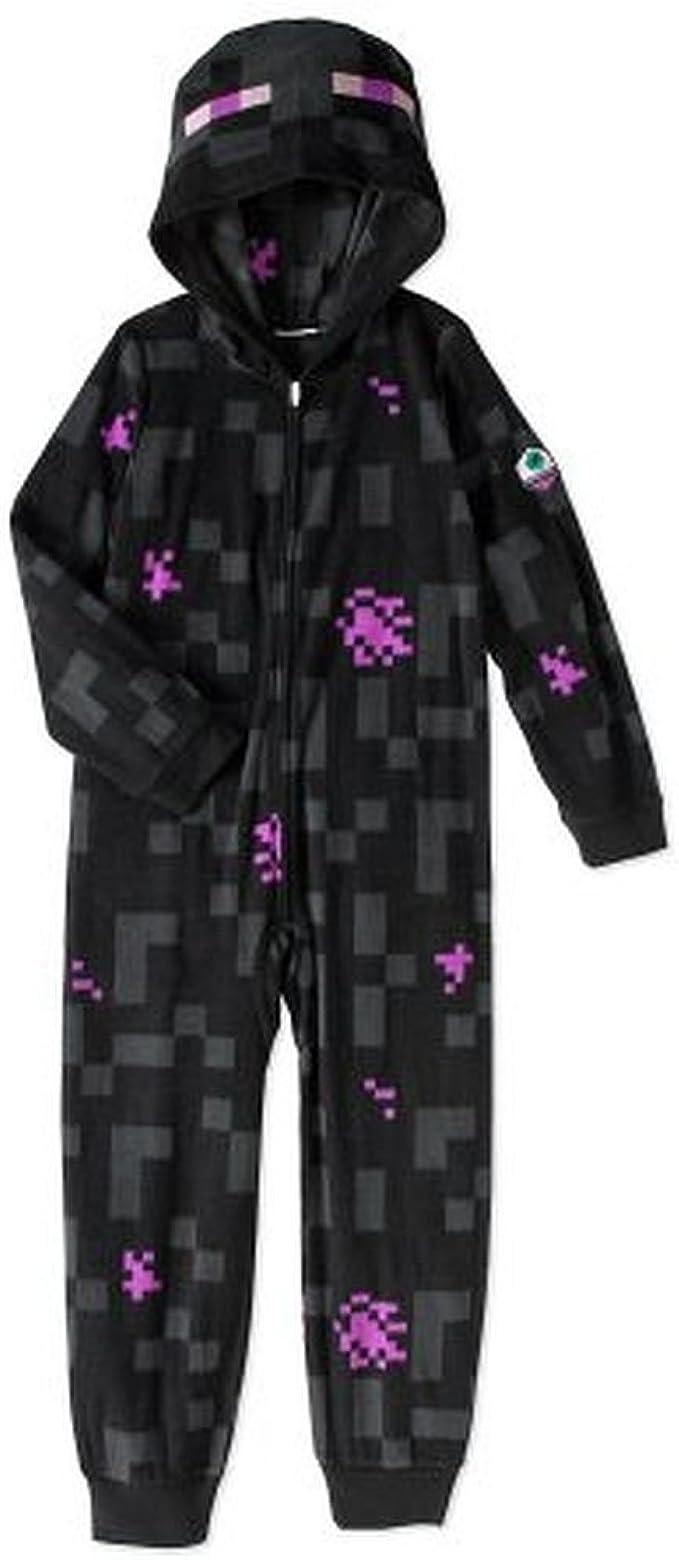 AME Minecraft Mojang Boys Mob Creeper Fleece Hooded Union Suit Pajama Sleeper