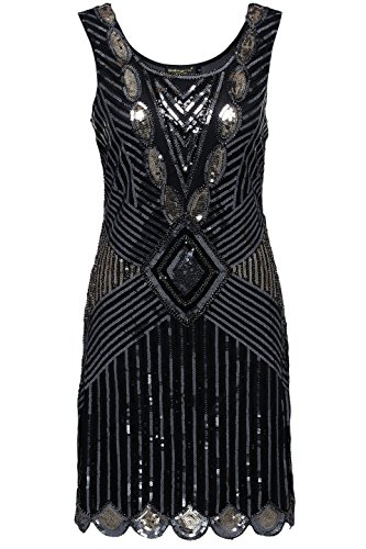 BABEYOND Women's Flapper Dresses 1920s Sequined Beaded Back Deep V Gatsby Dress (X-Large) - 1920s Clothing Style