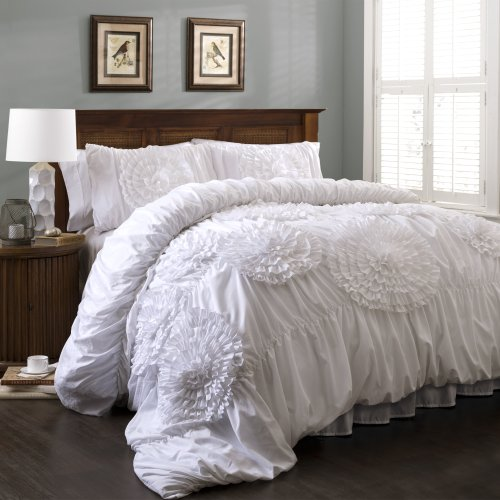 Lush Decor Serena Comforter Ruched Flower 3 Piece Set, Full Queen, White
