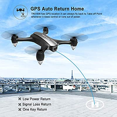 Tech rc GPS Drone with 5G FPV Camera HD 1080P 120°FOV Live Video, Low Power Auto Return Home Function and Follow Me, Surround Flight, Headless Mode, One-key Flight Easy Control RC Quadcopter for Adult
