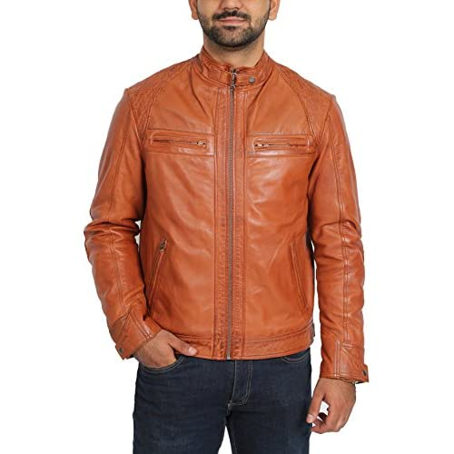 2171dcc6c089 Mens Lambskin Leather Biker Style Casual Jacket Slim Fit Bowie Cognac Tan  durable service