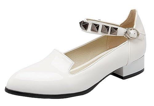 complementos 37 13 Talla Zapatos Para AgooLar es de Charol y Mujer Blanco de Zapatos Color Vestir Amazon fWzanzvTx