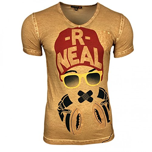 Kurzarm Herren T-Shirt Shirt Skull Shirt Schwarz Blau Braun Camel S M L XL XXL, Größe:XL, Farbe:Camel