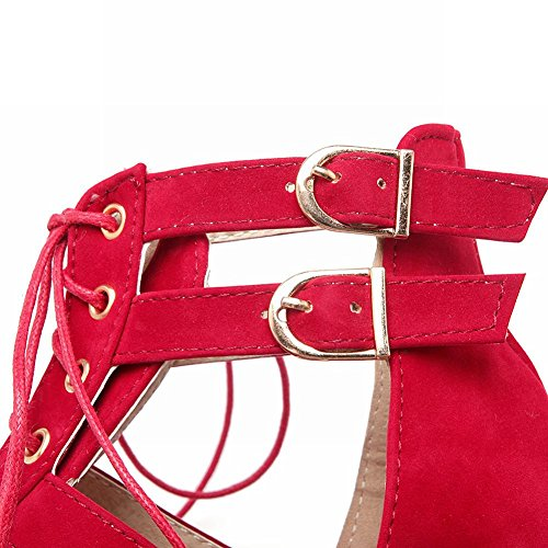 Mee Shoes Damen bequem Peep toe Keilabsatz Sandalen Rot