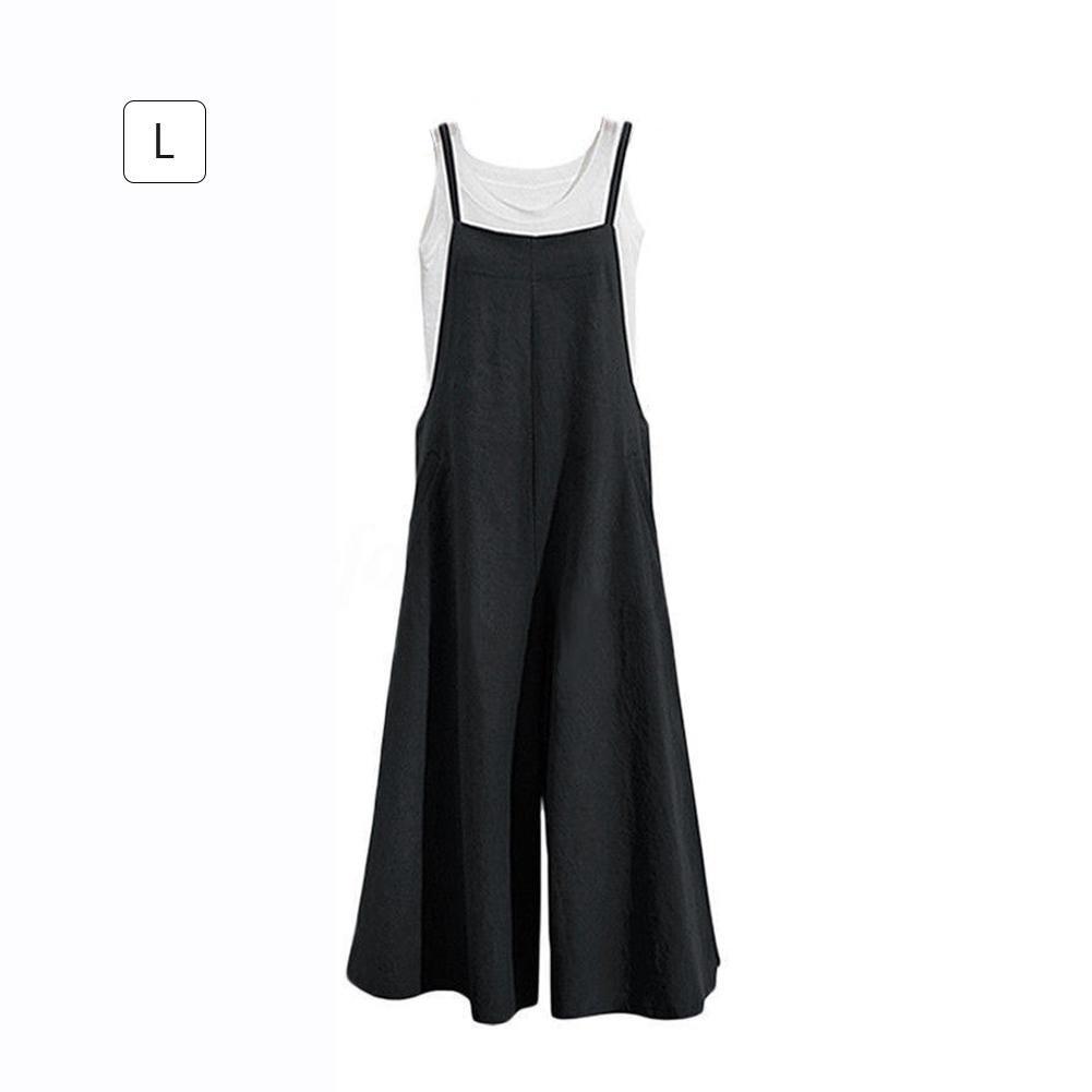 Jannyshop Women Autumn Loose Linen Suspender Overalls Jumpsuit Bib Trousers Wide Leg Pants Plus Size
