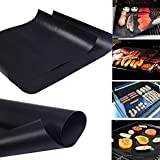 #4: BOGZON Premium Quality No-Stick Baking Mat/Cookie Sheet - Teflon BBQ Grill Sheet/Mat, Black(15.7
